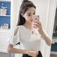 露肩雪纺衫韩版V领上衣女夏装女士洋气小衫时尚甜美短袖潮