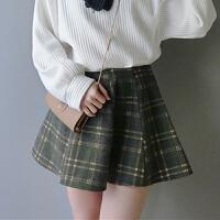秋冬女装韩版学院风显瘦高腰弹力毛呢半身裙A字裙复古格子短裙潮