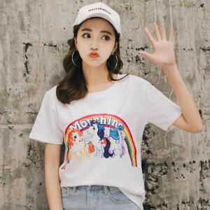 AGECENTRE 2018新款夏装宽松短袖t恤女韩版百搭学生夏季半袖白色上衣潮