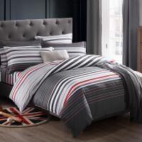 床上四件套棉纯棉格子夏季男士简约1.8m床单被套1.2米三件套1.5