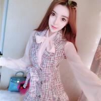 女神范衣服2018新款春装超仙蝴蝶结衬衫+西装领马甲背心裙两件套