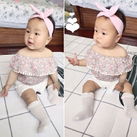 夏季韩版小碎花宝宝露肩上衣一字领新生儿性感小女童短袖纯棉t恤