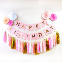 儿童周岁生日布置宝宝派对主题浪漫装饰品拉旗纸流苏扇花套餐