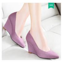 莱卡金顿春夏新款休闲百搭英伦风性感女单鞋尖头浅口坡跟高跟鞋女凉鞋zhlkq6005