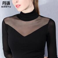 透明蕾丝加绒打底衫女长袖秋冬时尚新款百搭性感韩版网纱上衣