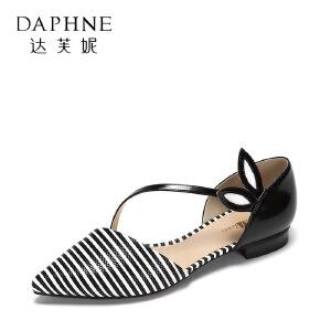 达芙妮 vivifleurs日系平底单鞋 时尚尖头一字扣芭蕾舞鞋