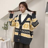 春秋女装韩版宽松可爱花朵几何图案加厚针织衫开衫V领毛衣外套潮