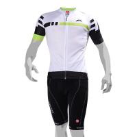 比赛级骑行服套装 夏季山地自行车骑行服短袖套装男女款 白色 雷霆短袖套装