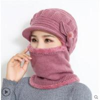帽子女中年骑车围脖一体防寒毛线帽潮妈妈保暖加绒加厚针织帽