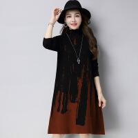 长款花色高领女士针织毛衣裙 韩版宽松大码女式毛衣打底裙 可混批