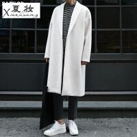 夏妆秋冬新款羊毛大衣男长款韩版过膝羊绒大衣男外套男版白色风衣潮流