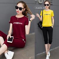运动套装女夏2018新款韩版时尚短袖t恤七分裤学生宽松休闲两件套