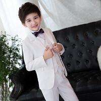 2017儿童西装格子套装 男孩生日休闲小西服 韩版白色花童礼服主持演出服