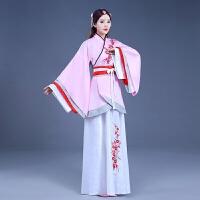 新款汉服女襦裙中国风演出古装仙女舞蹈服礼改良曲裾