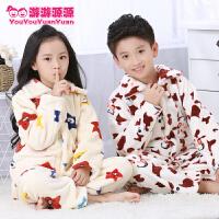 秋冬季儿童家居服小中大童加厚法兰绒睡衣套装男童女童长袖珊瑚绒