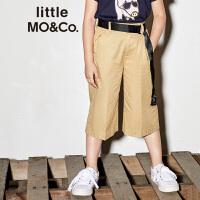 littlemoco夏季新品女童裤子配腰带宽松纯色直筒透气棉质休闲裤