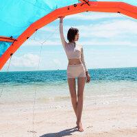 平角游泳衣女保守新款长袖分体泳衣韩国ins显瘦运动游泳衣
