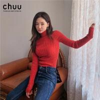 chuu内搭打底针织衫上衣女长袖2019秋冬新款韩版红色修身高领毛衣