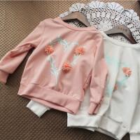2018女童春装长袖T恤中小童韩版休闲时尚立体花朵上衣宝宝卫衣