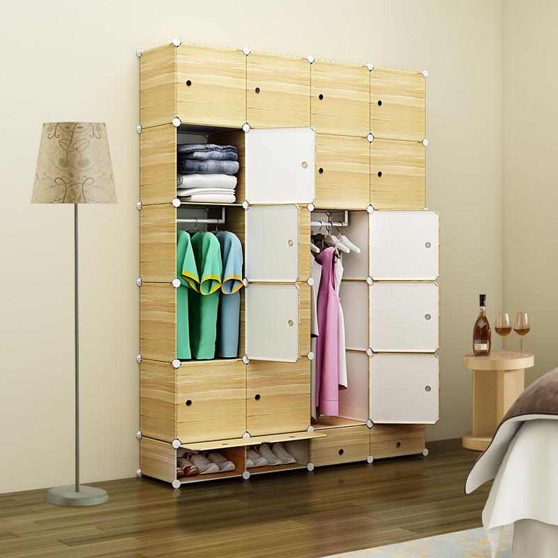 简易衣柜 pp树脂魔片组合衣柜 加深仿真木纹塑料魔片衣柜  f4b