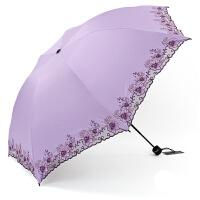 天堂伞33373E美仑美奂 黑胶绣花伞遮阳伞防紫外线女防晒伞蕾丝太阳伞三折叠晴雨伞