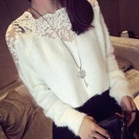 韩观秋季新款韩版时尚修身套头圆领蕾丝拼接长袖针织杉毛衣打底衫上衣 均码