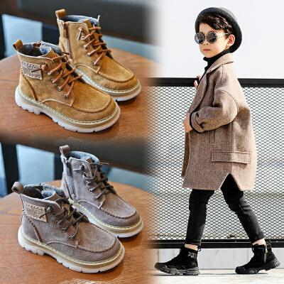男童鞋冬季新款男孩靴子中大童加绒二棉鞋儿童马丁靴