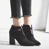 尖头女靴春秋单靴新款短靴女粗跟马丁靴英伦风高跟鞋女厂家