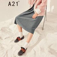 A21以纯线上品牌2017冬季新品高腰百褶裙女 纯色简单针织半身长裙4742371002