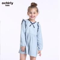 ochirly kids欧时力童装女童2018新款荷叶边牛仔连衣裙5G01087760