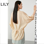 LILY2020春新款女装简约纯色莱赛尔宽松抽绳雪纺衫120140C8630