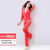 春秋运动服金丝天鹅绒运动套装韩版休闲卫衣修身两件套女