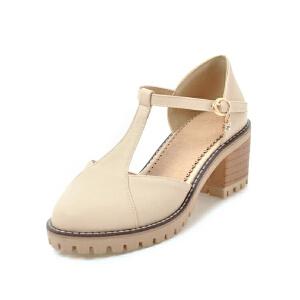 O'SHELL法国欧希尔新品099-9032韩版超纤皮中跟粗跟蝴蝶结女士单鞋