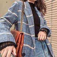 七格格毛呢大衣女2019冬季新款韩版长款过膝呢子人字尼格纹外套潮