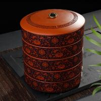 陶瓷茶叶罐大号可叠加普洱茶饼罐两饼茶盒包装紫砂醒茶存茶罐家用