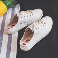 懒人鞋女鞋可踩后跟帆布鞋学生韩版原宿布鞋ulzzang拖鞋草莓板鞋