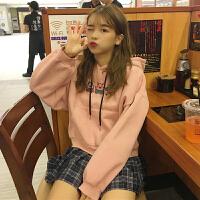秋冬女装韩版宽松卡通刺绣长袖加绒加厚卫衣短款连帽外套学生上衣
