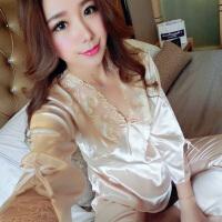 春秋新款女士性感长袖丝绸睡衣家居服性感两件套套装蕾丝雪纺