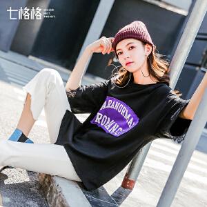 蕾丝字母宽松T恤短袖女2018春季新款韩版原宿风学生打底中长上衣