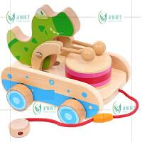 宝宝拖拉学步手拉线绳玩具车0-1-2岁婴幼儿童礼物鳄鱼敲鼓拖车 拖拉鳄鱼 适合0-3岁
