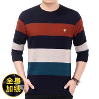 爸爸装 冬季中年男士长袖T恤圆领加绒加厚青年保暖内衣30-40-50岁