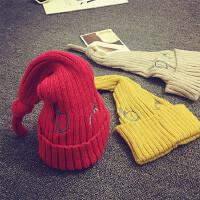 儿童帽子毛线帽男女宝宝帽子秋冬婴儿帽子3-6-个月针织帽套头帽