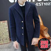 冬季短款男士风衣韩版修身春秋毛呢大衣男青年潮男装呢子外套 加绒
