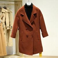 双面呢大衣女中长款冬装新款 韩版落肩修身百搭双排扣呢外套