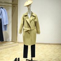 双面呢大衣女冬装新款 韩版百搭落肩中长款九分袖毛呢外套