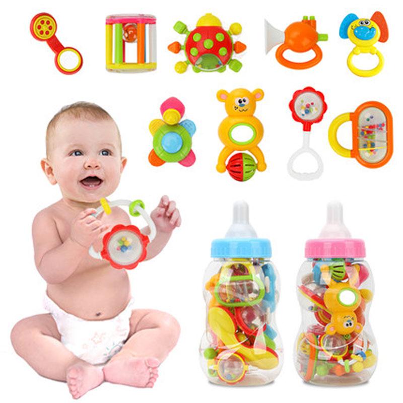 手摇铃组合0-3-6-12个月宝宝玩具大奶瓶
