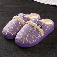 冬季保暖棉拖鞋厚底情侣家居月子鞋托鞋男女室内防滑毛拖鞋居家鞋CLX