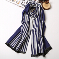春秋冬季保暖百搭两用 欧美超大加厚披肩女士条纹拼色仿羊绒围巾
