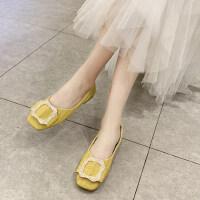 韩版时尚水钻平底舒适女鞋方扣蝴蝶结温柔女鞋仙女风
