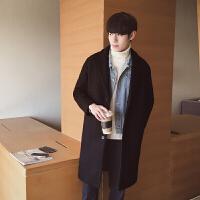 冬季男士中长款风衣韩版宽松毛呢大衣男妮子修身长款男生外套男潮